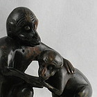 Chinese Stone Carving  Monkey Family Sculpture 19th C
