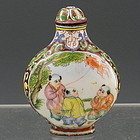 Chinese Enamel on Copper Snuff Bottle Gold Gilt