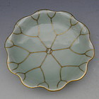 Chinese Celadon Lotus Footed Dish Bowl with Gold