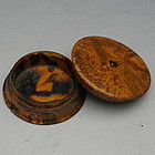 Antique Burl Wood Snuff Box with Tortoise Shell