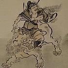Japanese Silk Painting Shoki the Demon Slayer, 19th C