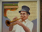 Emanuel Schary Oil on Board Painting Jazz Musician