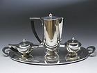 Art Deco Sterling Silver Coffee Tea Set Service