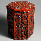 Japanese Deep Red Lacquer Cinnabar Octagonal Box