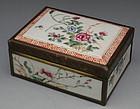 Chinese Porcelain Famille Rose Hinged Box, MK