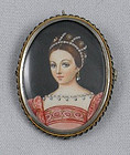 Miniature French Portrait Painting Necklace Brooch