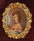 18K Gold Ruby Painted Porcelain Portrait Brooch Pendant
