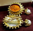 18 K Gold Venetian Glass Intaglio Italian Earrings