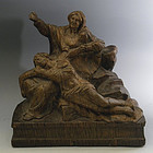 Antique Hand Carved Wood Pieta Statue Mary Jesus Christ