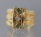 Modern 14K Gold Emerald and Diamond Ring