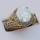 Australian Opal in Yellow Gold with Diamonds Ring