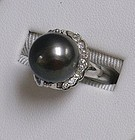 18K White Gold Large Black Pearl Ring with Diamonds
