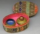 Cloisonne Yellow Ground Salt Pepper Set, Original Box