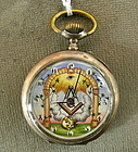 Rare Antique Masonic Automaton Silver Pocket Watch