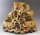 Chinese Shoushon Stone Soapstone Vase with 5 Birds, Flowers