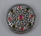 Konstantino Pink Green Tourmaline Sterling Brooch Pin