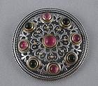 Konstantino Pink Green Tourmaline Sterling Brooch Pin