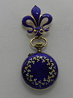 Ladies Antique Blue Enamel Pendant Watch Fleur de Lis