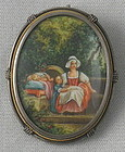 French Miniature Painting Garden Scene Pendant, 19C