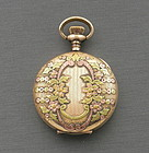 Ladies Elgin Yellow Green and Rose Gold Pocket Watch