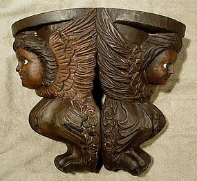 19th C French Angel Cherub Wall Bracket Corbels