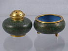 Cloisonne Green Ground Salt and Pepper Set, Qing Dy
