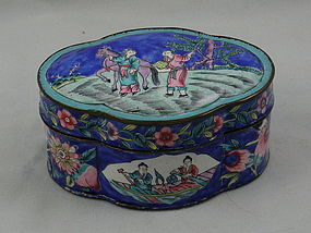 Chinese Cobalt Blue Lobed Enamel Box with Scene