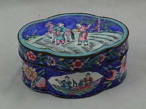 Chinese Cobalt Blue Lobed Enamel Box with Scene