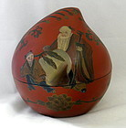 Red Lacquer Peach Box with Sau God of Longevity Shou
