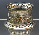 Antique George V  Sterling Silver Pierced Dish Ring