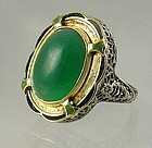 Chinese 14 kt Yellow Gold, Enamel, and Jade Ring