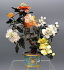 Chinese Jade & Hardstone Jewel Tree in Cloisonne Pot
