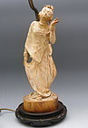 Antique Burmese Wooden Dancing Nat Spirit Angel Statue