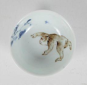 Japanese Porcelain Sencha Tea Cup Macaque Snow Monkey, Chikusen