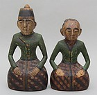 Pair Javanese Loro Blonyo Polychromed Wood Wedding Couple Statues