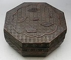 Chinese Carved Octagonal Wood Lacquer Box with Shells, Circa 1850
