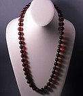 Vintage Natural Red Cherry Amber Smooth Beads Necklace