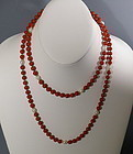 "35"" Long Natural Red Oxblood Sardinian Bead Coral Necklace"