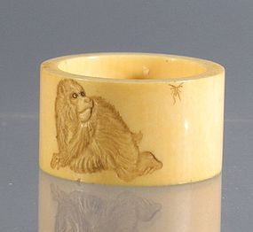 19th C Japanese Ivory Napkin Ring with Monkey Chasing Fly