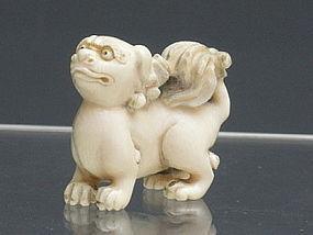 Japanese Ivory Shishi Foo Dog Lion Netsuke Signed