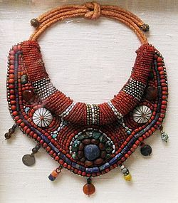 Large Old Tibetan Red Coral, Turquoise, Silver Bead Collar Necklace