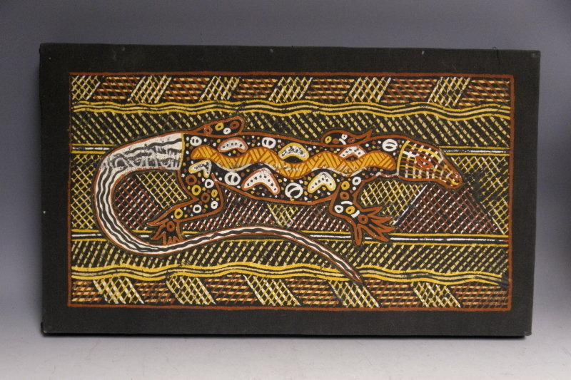 Aboriginal Art Ochre Painting Lizard with Snake by Timaepatua