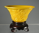 Imperial Chicken Fat Yellow Carved Peking Glass Wine Cup Bowl