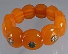 Natural Baltic Amber Bracelet Art Moderne Ring Sterling Silver