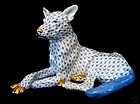 RARE Very Large Blue Fishnet Herend German Shepard Dog Figurine