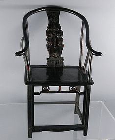 Miniature Chinese Carved Hardwood Horseshoe Chair with Bat
