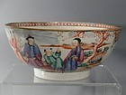 Large Chinese Export Porcelain Mandarin Bowl Qianlong 18th C