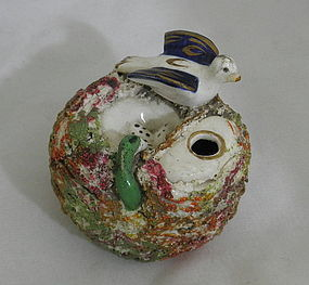 Staffordshire Quill Pen Holder Inkwell Bird Nest Snake 19th C