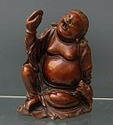 Chinese Wood Immortal Figurine Statue Liu Hai and His 3 Legged Toad