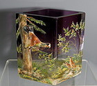 Amethyst Purple Art Glass Painted Enamel Vase with Applied Birds